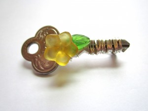 wire wrapped key brooch