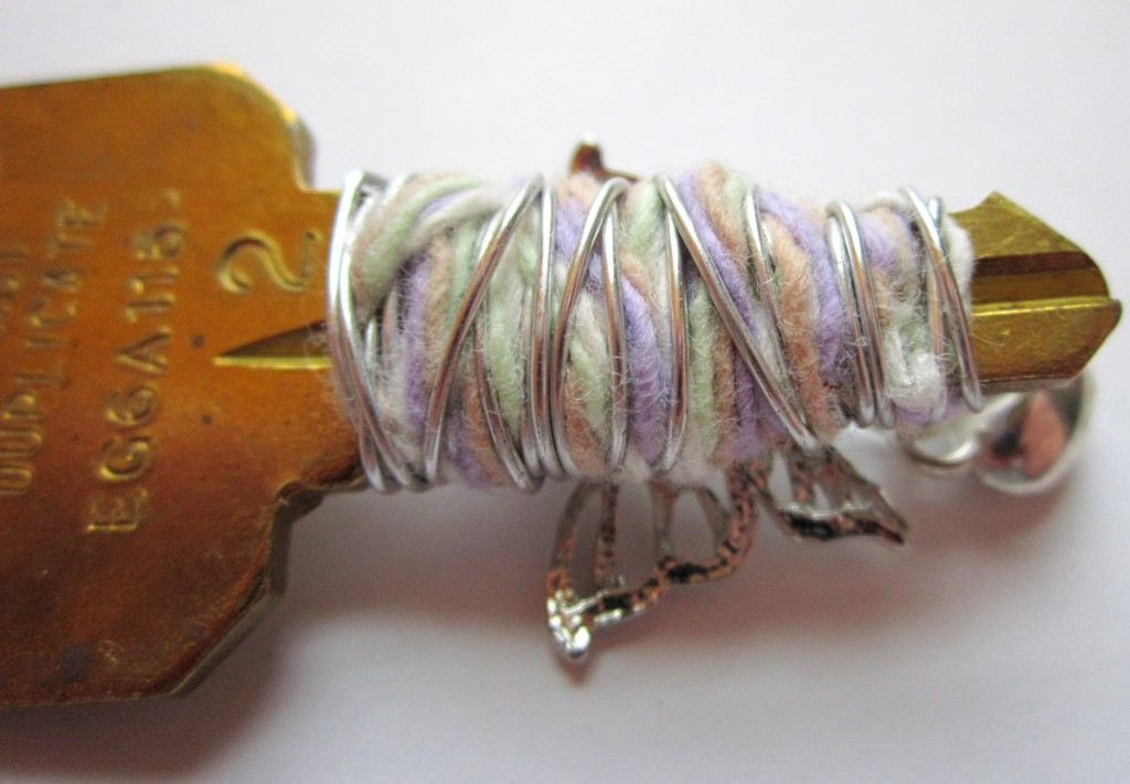 Wire Wrap Key Brooch with Fiber