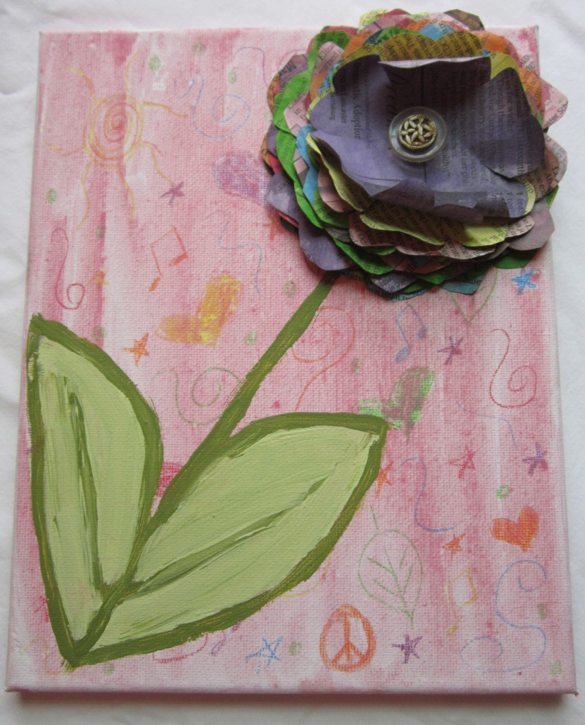 Mixed Media Flower Painting