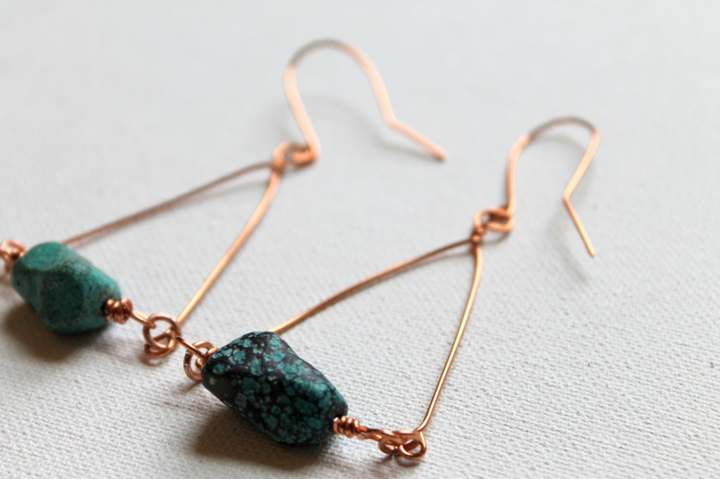 Wire Wrapped Triange Earrings