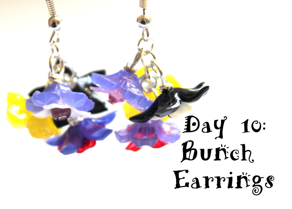 Bunch Earrings With Lucite Flowers