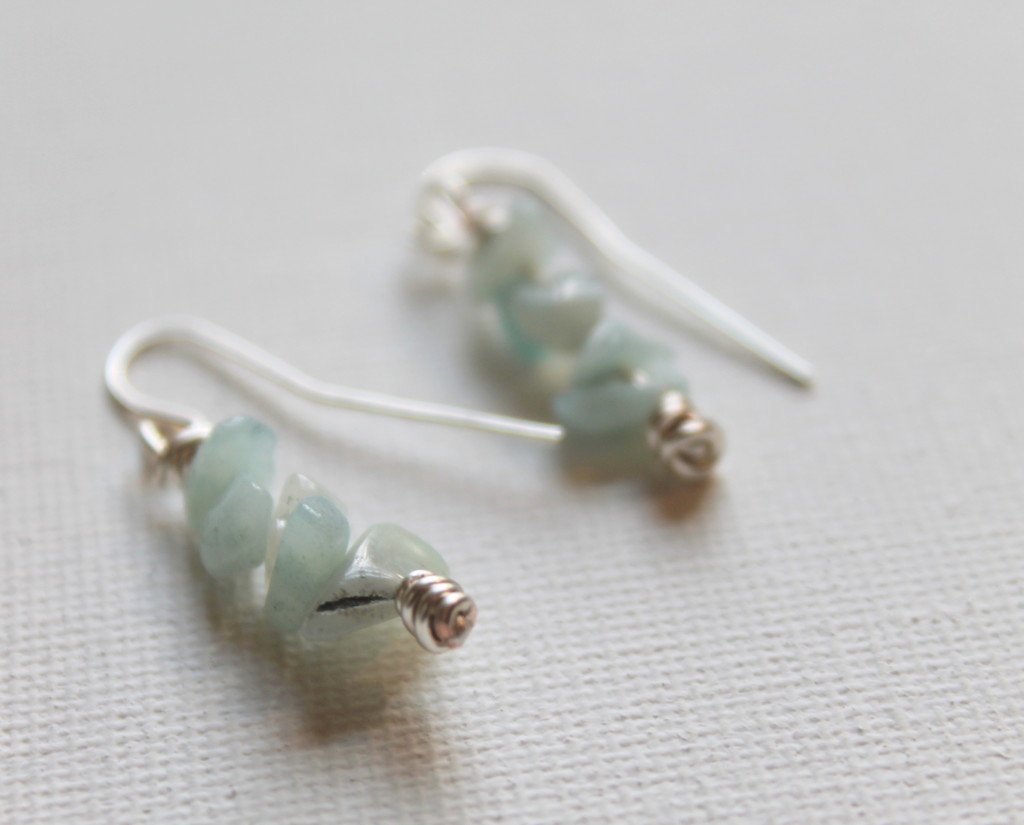 Gemstone Chip and Knot Earrings