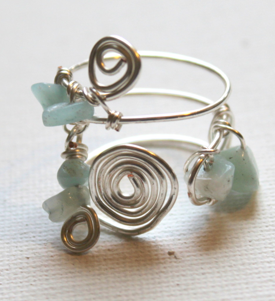 Spiral Beaded Wire Ring