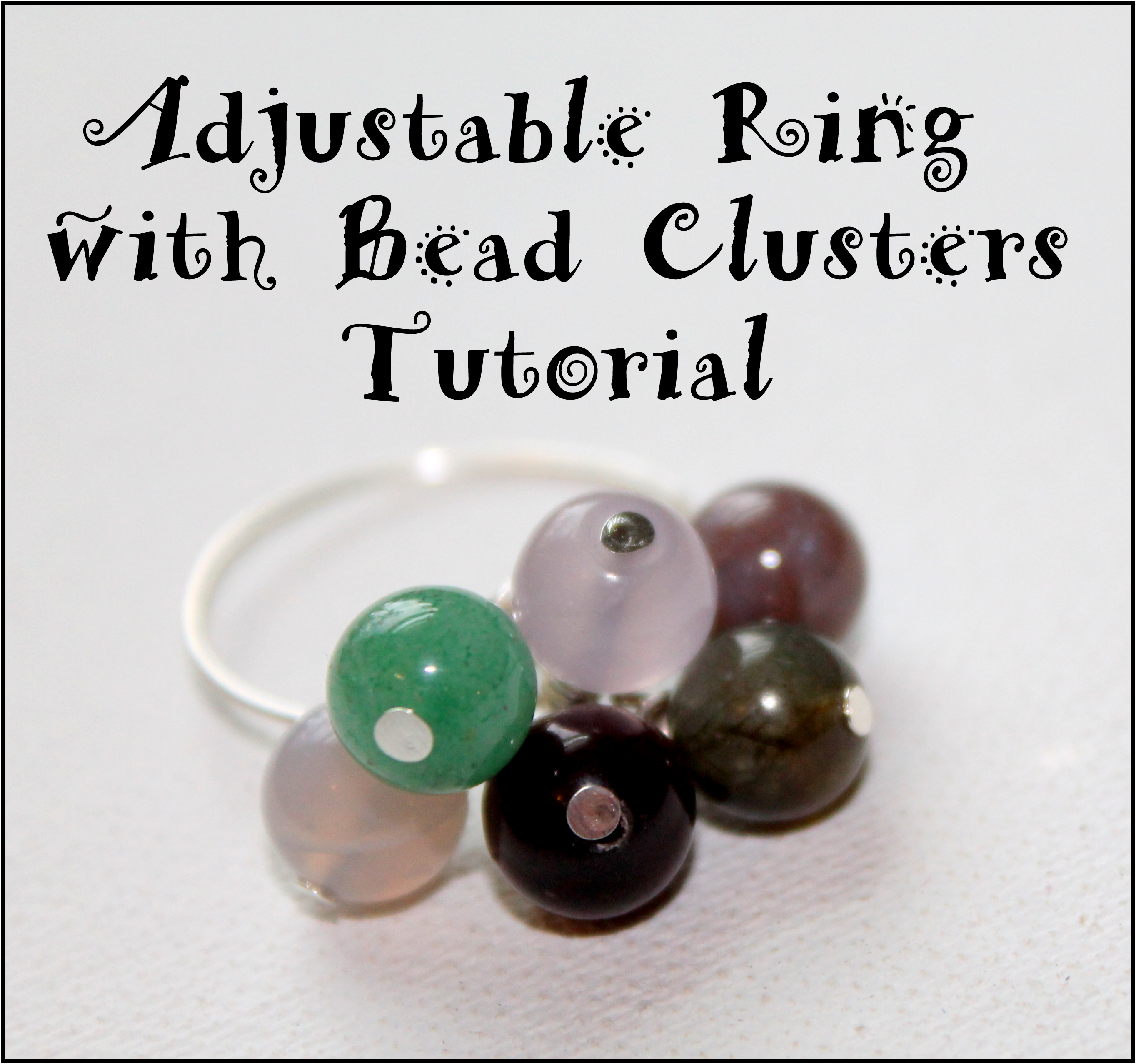 Adjustable Ring with Bead Clusters Pattern