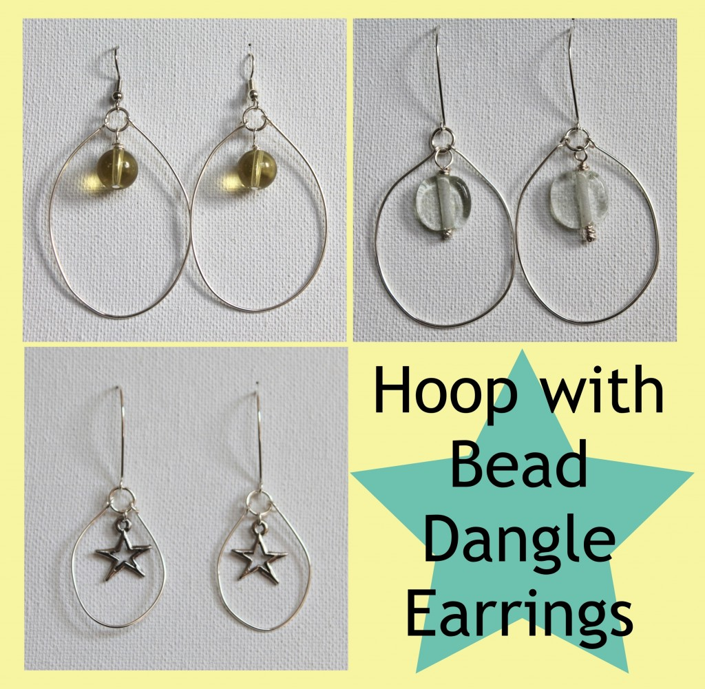 Hoop with Bead Dangle Earrings