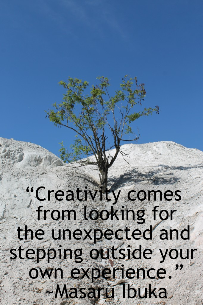 Creativity comes from looking for the unexpected & stepping outside your own experience. Masaru Ibuka