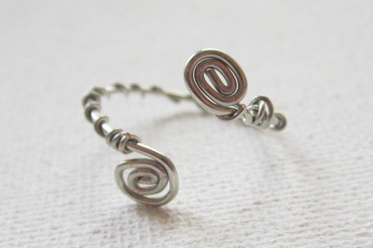 Adjustable Spiral Ring with Wrapped Band