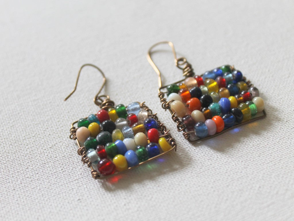 Beaded Square Earrings