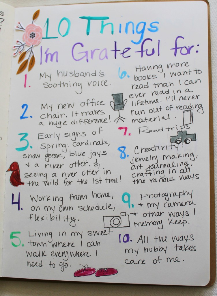 10 Things I'm Grateful For Art Journal Page