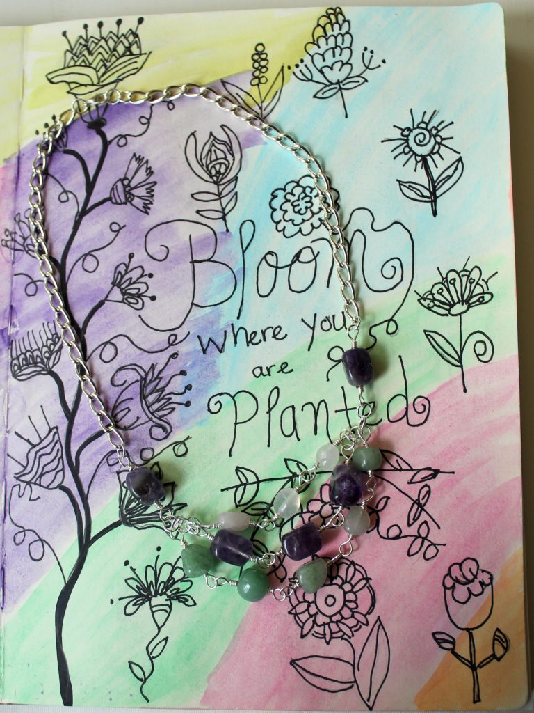 Bloom Where You Are Planted Art Journal Page and Jewelry