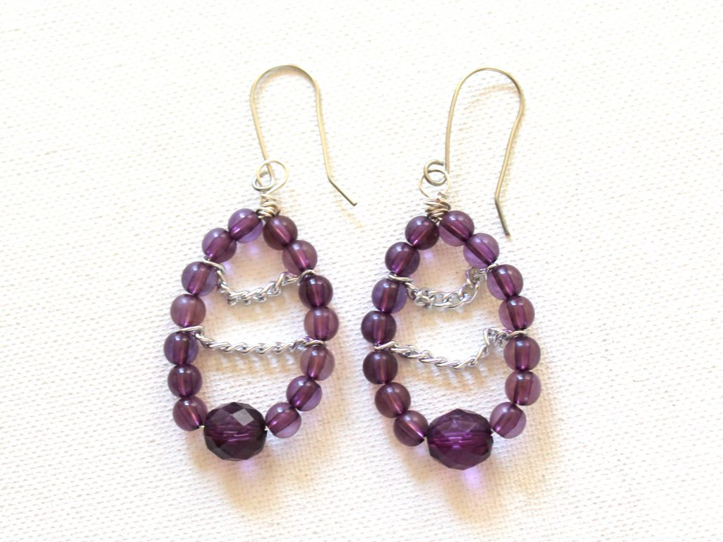Chain and Bead Teardrop Earrings