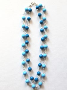 Double Strand Wire Wrapped Bead Link Necklace