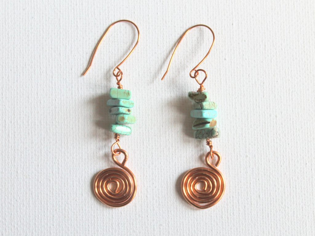 Bead and Spiral Charm Earrings