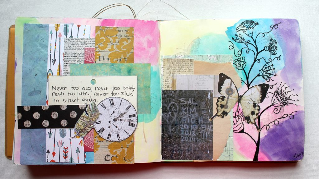 Art Journal Page from Mixed Media Quote Card Inspiration