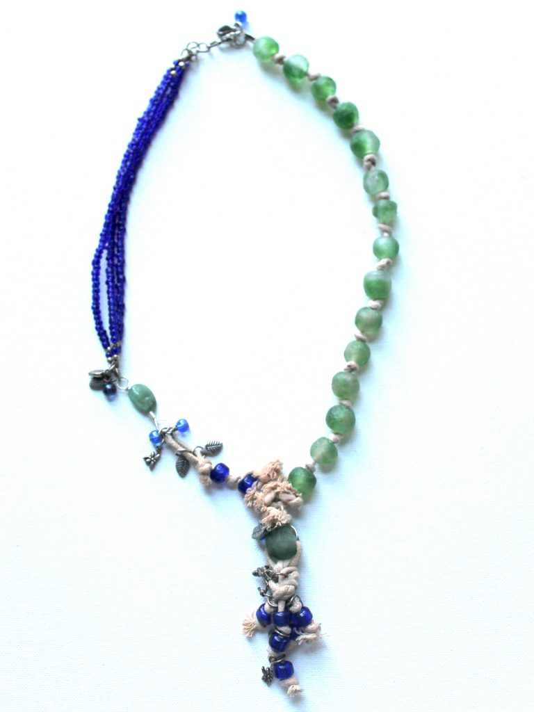 Green and Blue Mixed Media Asymmetrical Necklace