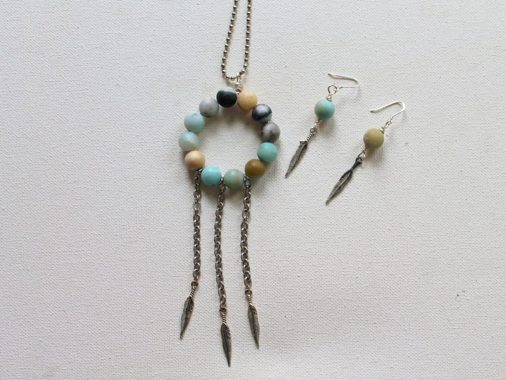 Dangle Charm Earrings with Dream Catcher Necklace